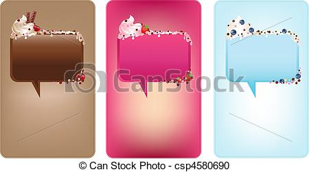 Vector Clipart of Banners With Speech Bubbles With Ice.