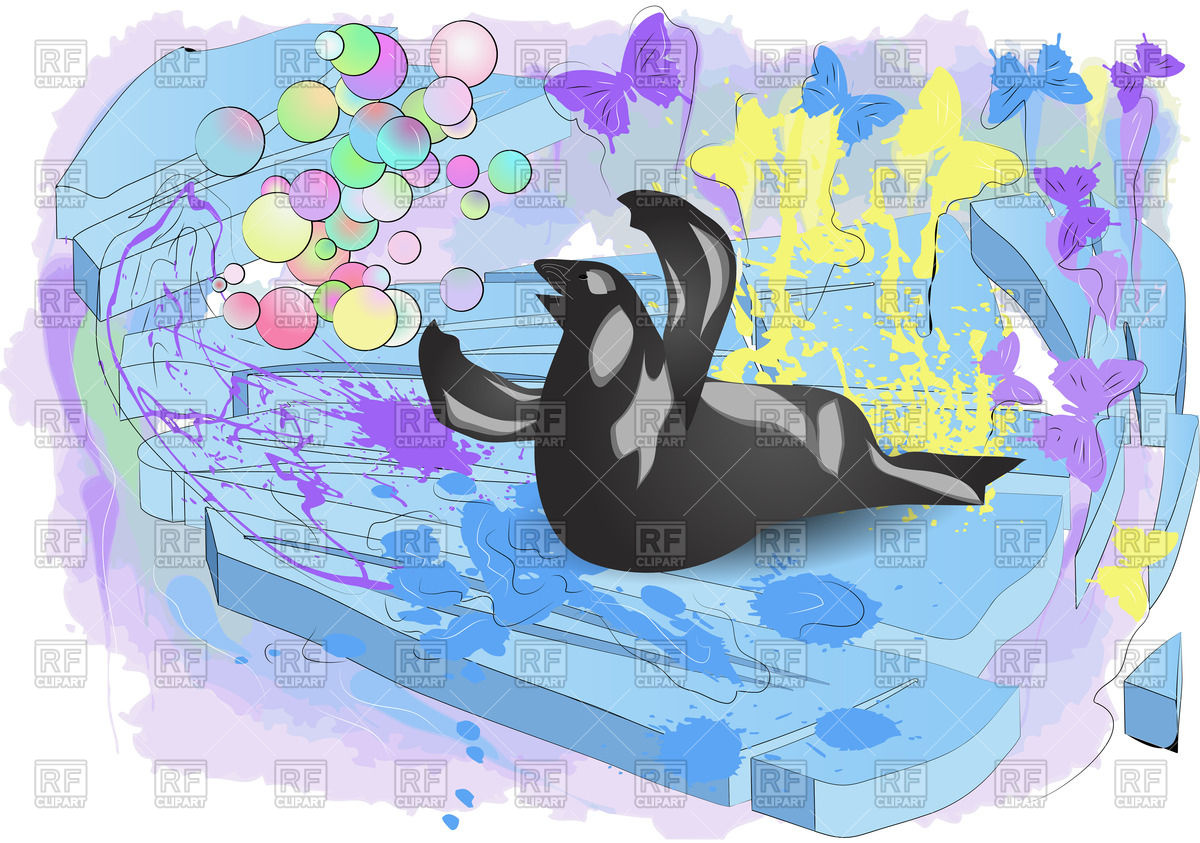 Walrus on ice with butterflies and multicolor bubbles Vector Image.