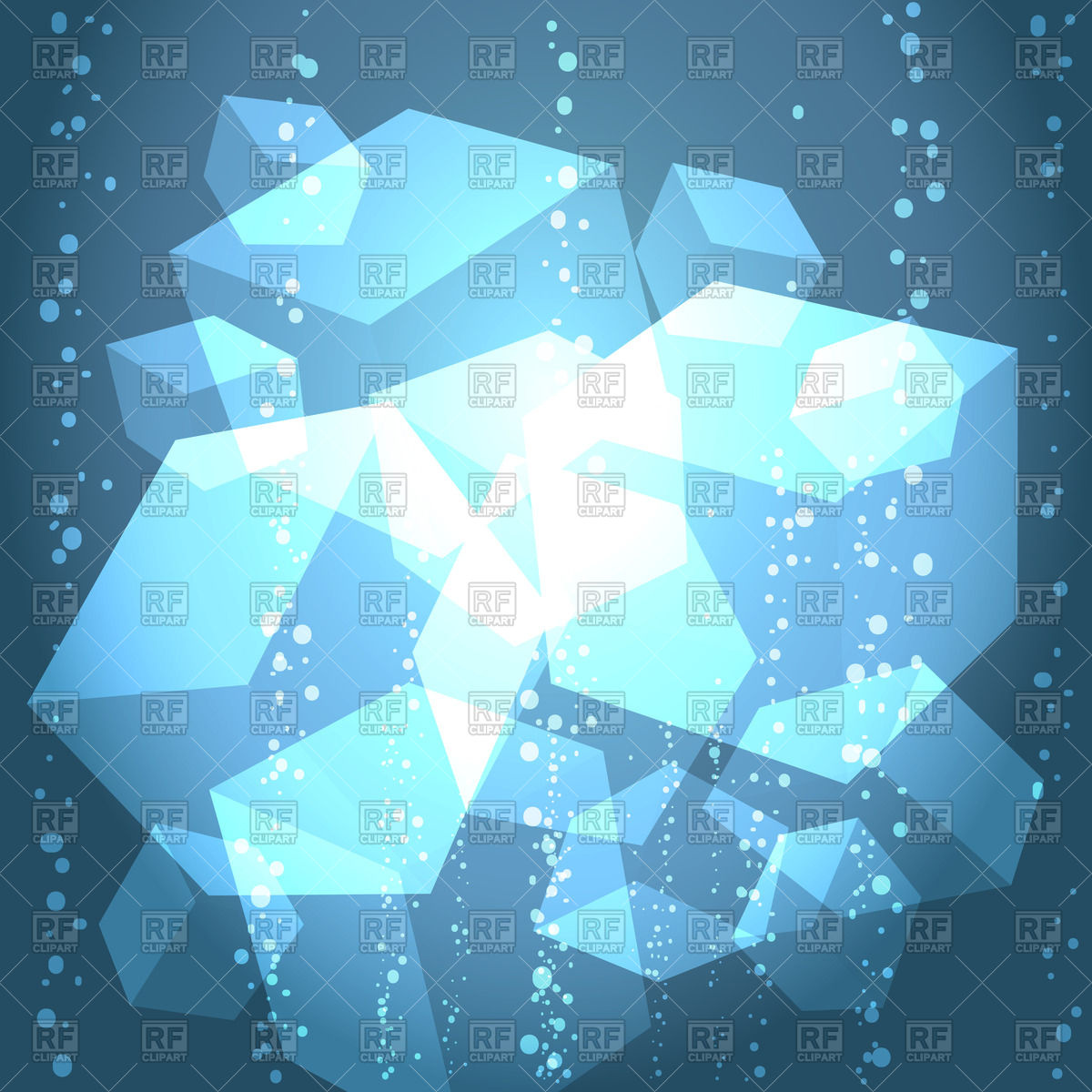 Ice cubes in the water with bubbles Vector Image #44206.