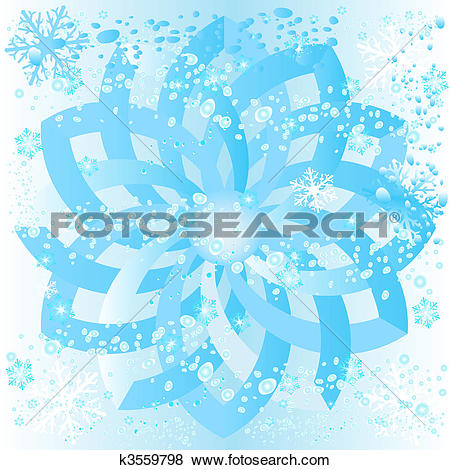 Stock Illustration of ice rosette with snowflakes and bubbles.