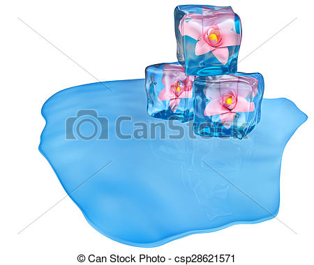 Stock Illustrations of ice cubes with flowers and air bubbles.