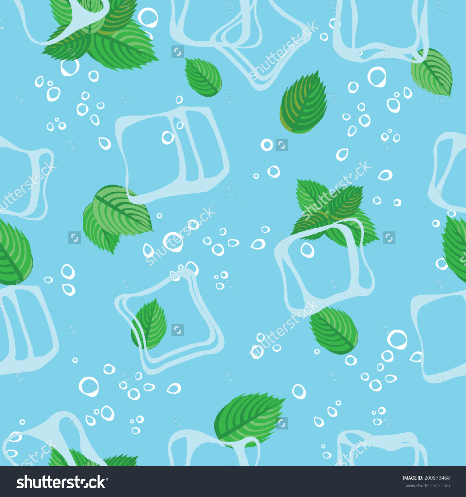 Mojito Mint Bubbles And Ice Cubes Blue Seamless Vector Pattern.