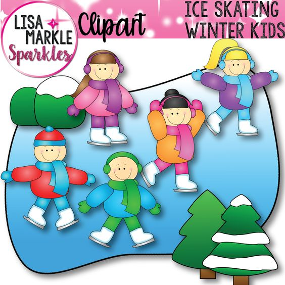Winter Ice Skating Kids Clip Art Set.
