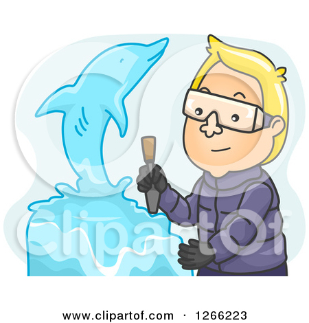 Clipart of a Blond Whit Eman Creating a Dolphin Ice Sculpture.