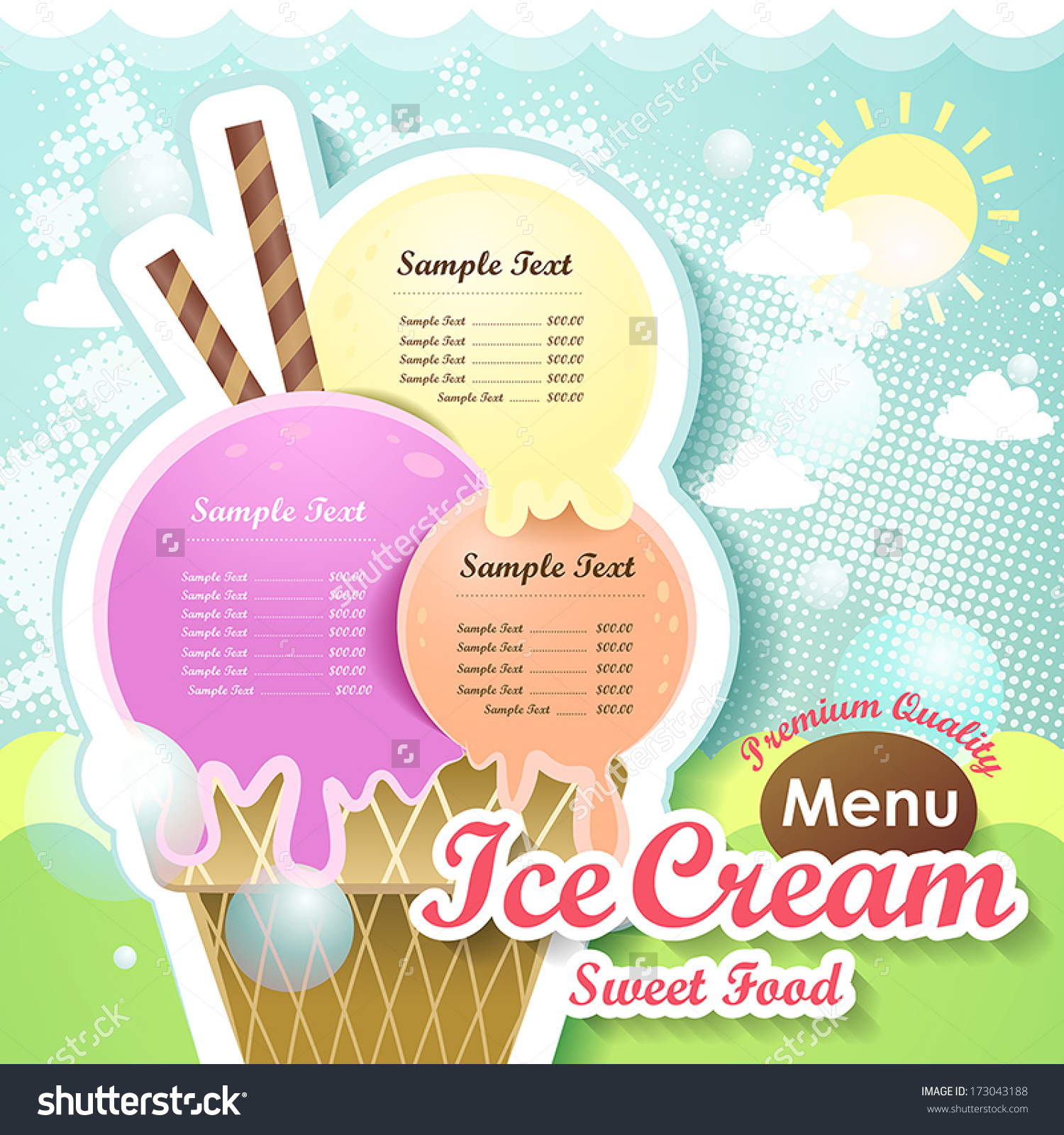 Restaurant Ice Cream Menu Cover Vector Stock Vector 173043188.