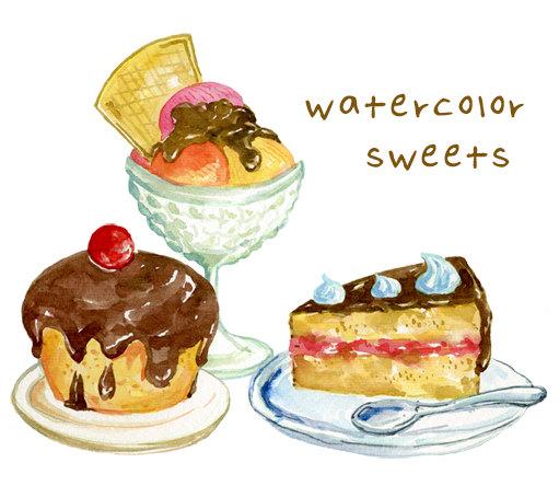 Digital Clip Art Sweet Set Icecream Cake Muffin.
