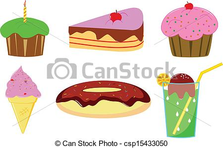 Clipart Vector of cake, donut and ice cream isolated on white.