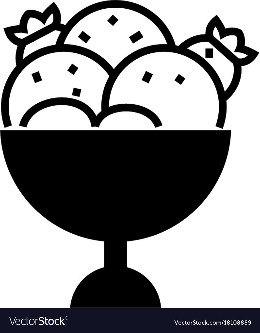 Ice cream bowl icon black.
