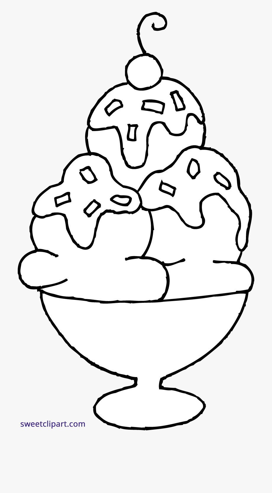 Ice Cream Sundae Coloring Page Clipart Sweet Clip Art.