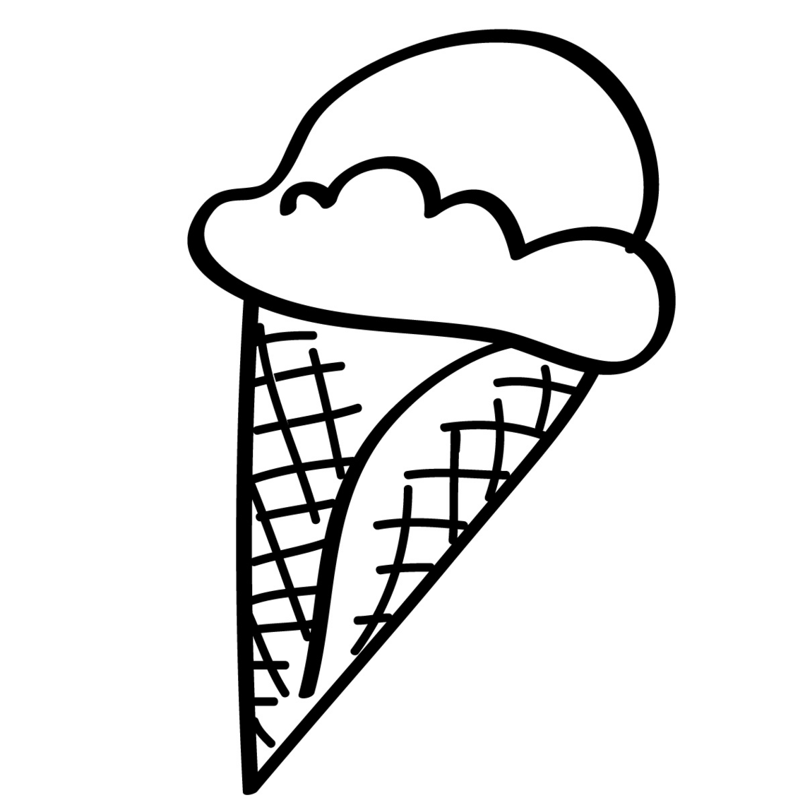 Black And White Empty Ice Cream Cone Clipart.