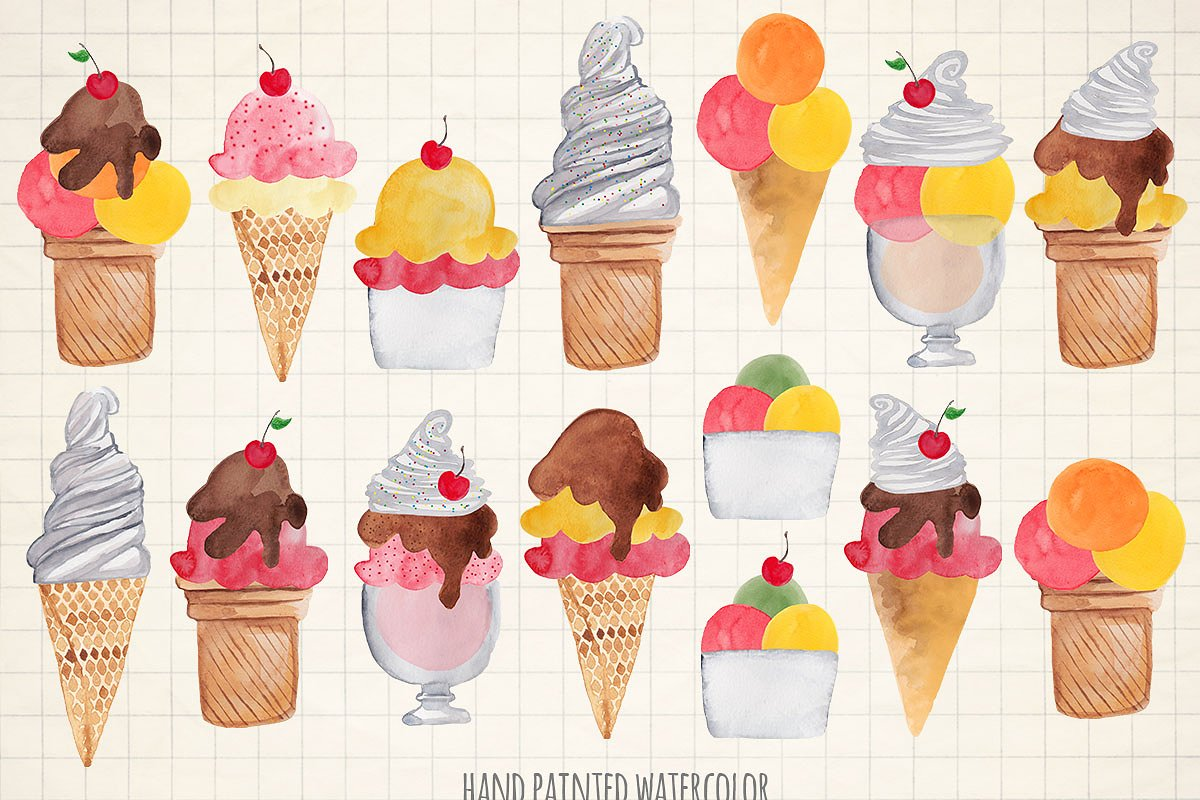 Watercolor ice cream cones clipart.