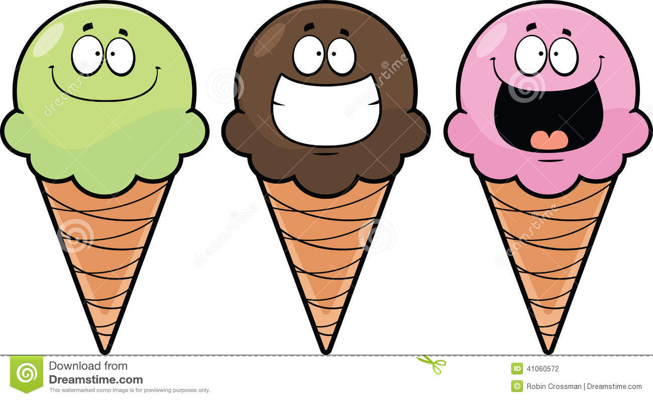 3 Ice Cream Cones Clip Art Royalty Free Stock Photos.