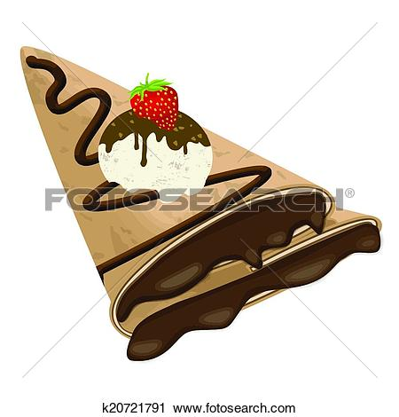 Clipart of Crepe (pancake) with chocolate, ice cream and.