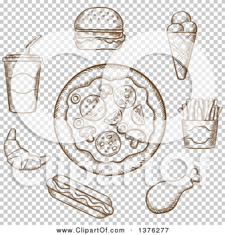 Clipart of a Brown Sketched Pizza, Burger, Soda, French Fries, Ice.