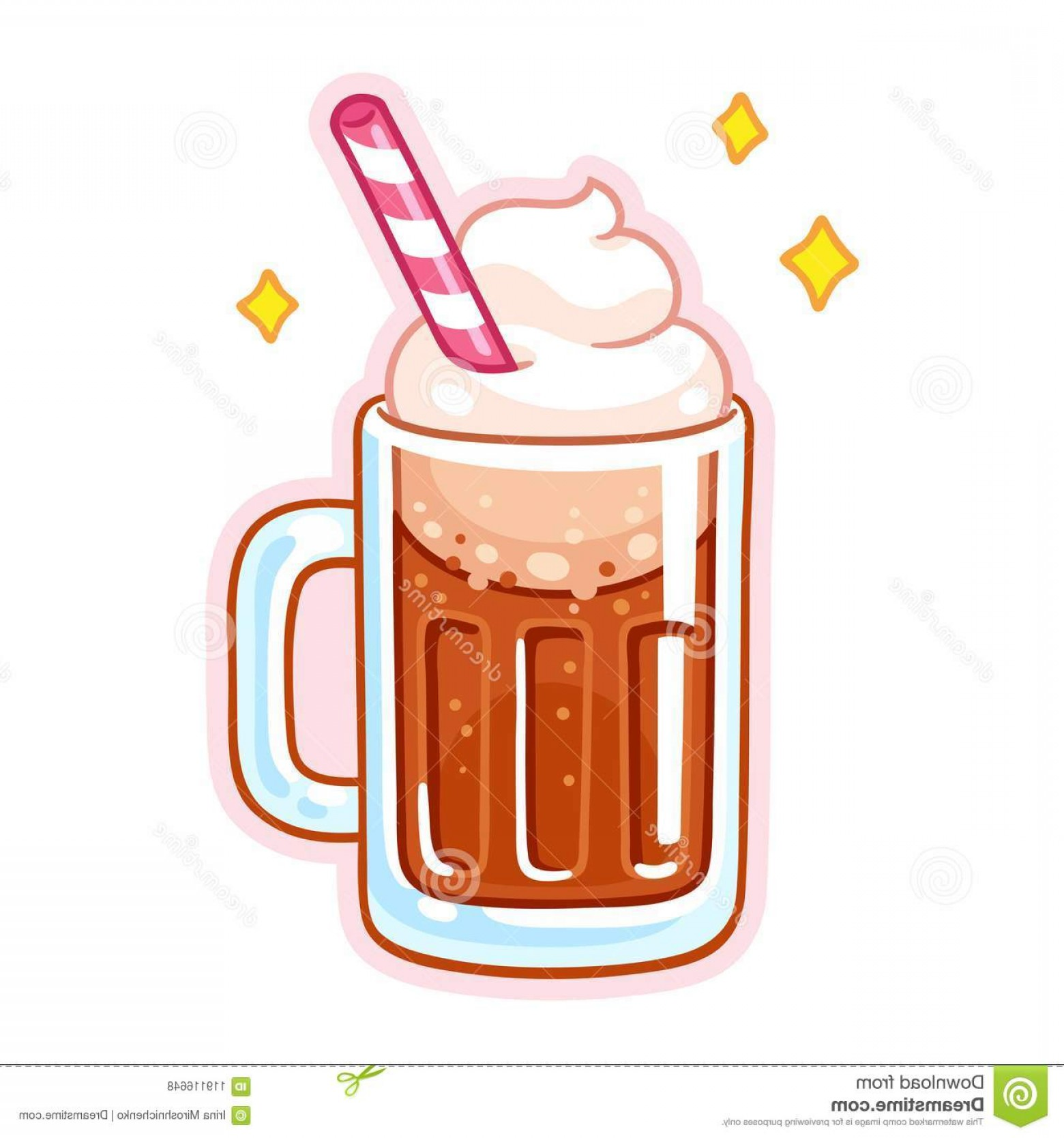 Cute Cartoon Root Beer Float Illustration Mug Root Beer Ice Cream.