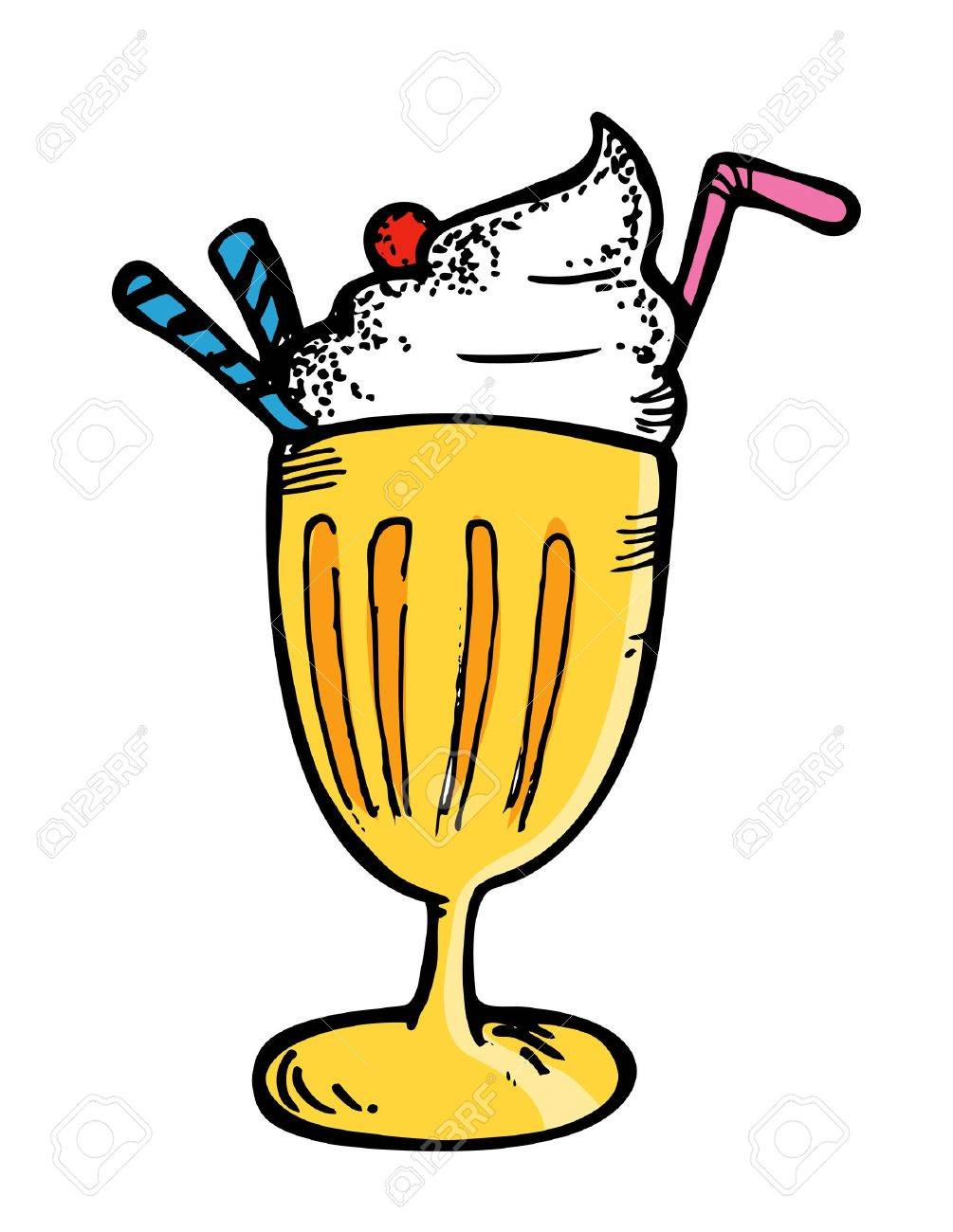 ice cream with float in doodle style.