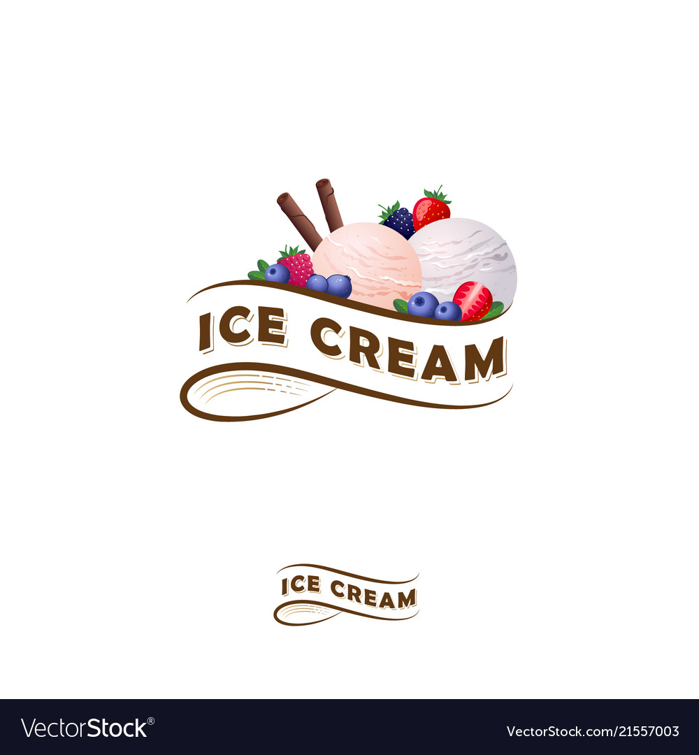 Ice cream logo ribbon berries.