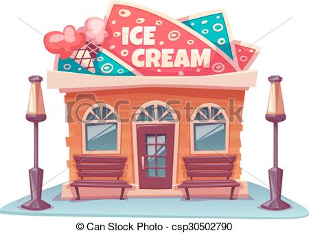 EPS Vectors of Vector illustration of ice cream shop building with.