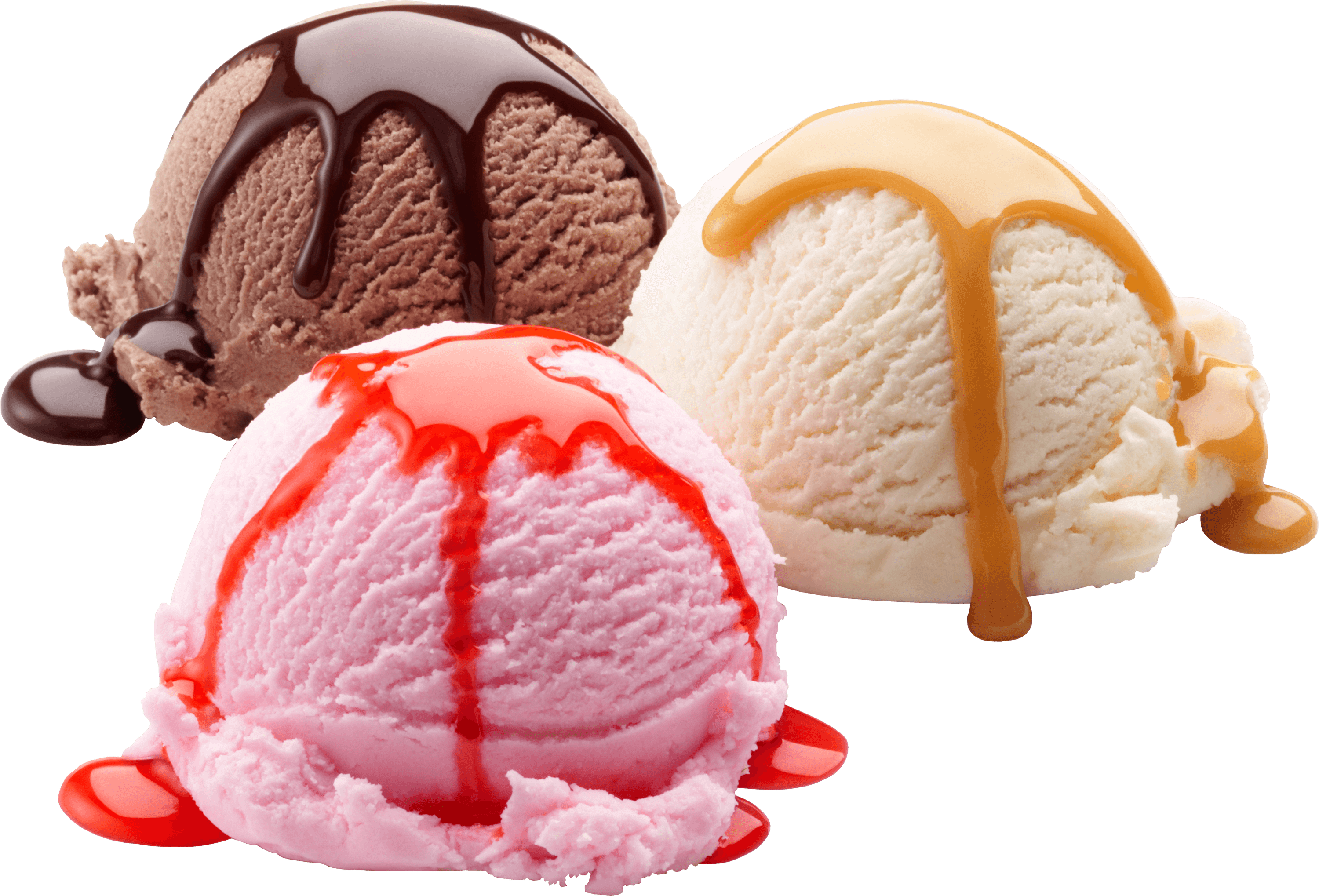 Vanilla Chocolate Strawberry Ice Cream transparent PNG.