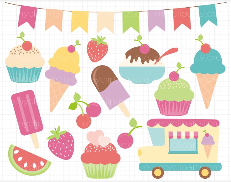 Ice Cream Banner Clipart.