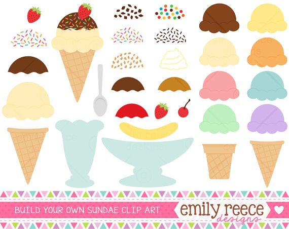 DOLLAR SALE Ice Cream Maker Sundae Banana Split Cute Clip Art.