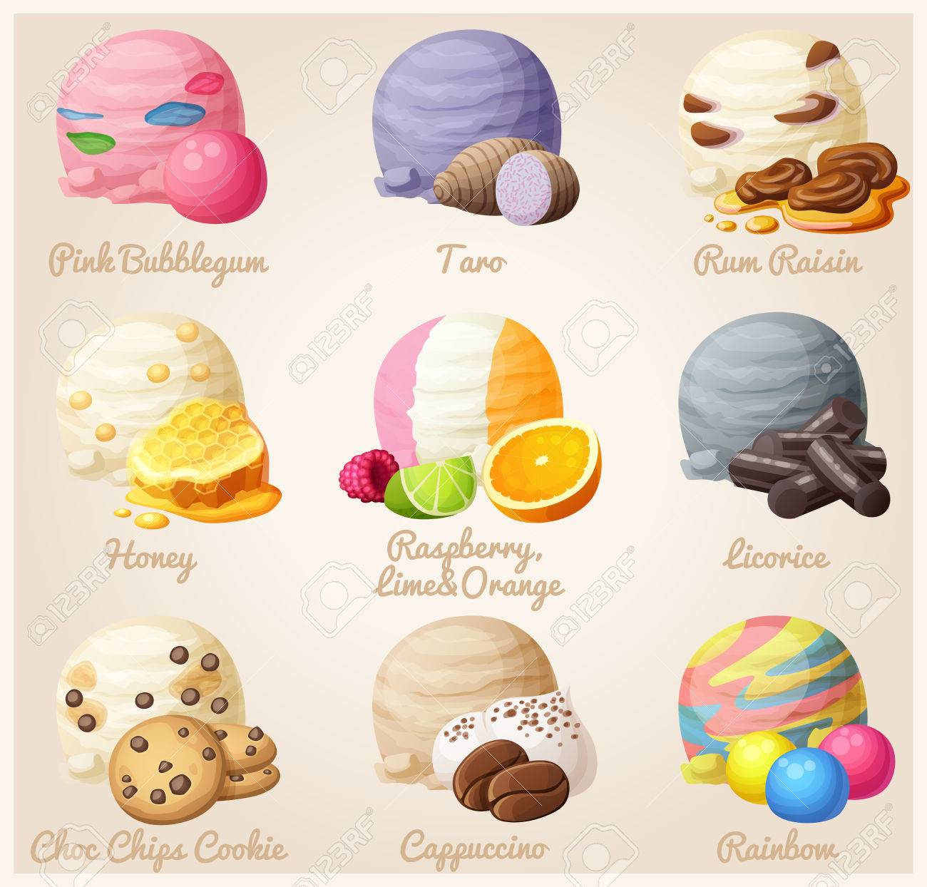 Set of cartoon vector icons. Ice cream scoops with different...