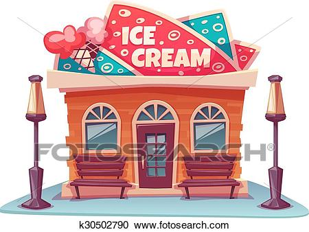 Vector illustration of ice cream shop building with bright banner Clipart.