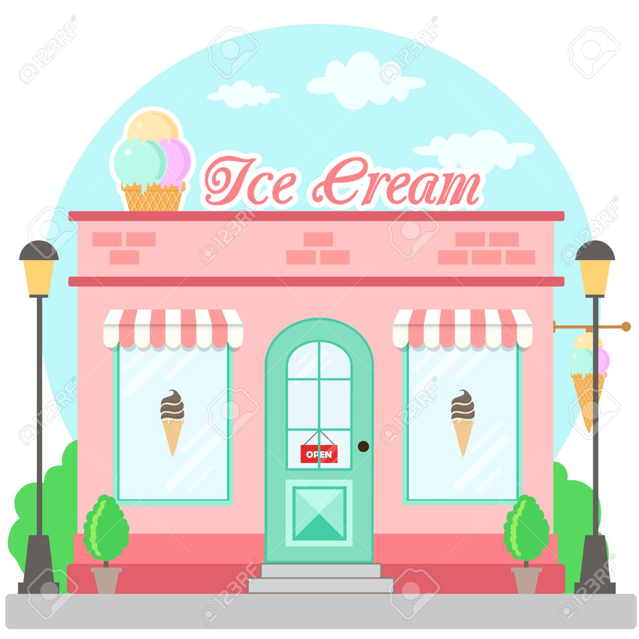 Facade ice cream shop with a signboard, awning and symbol in...