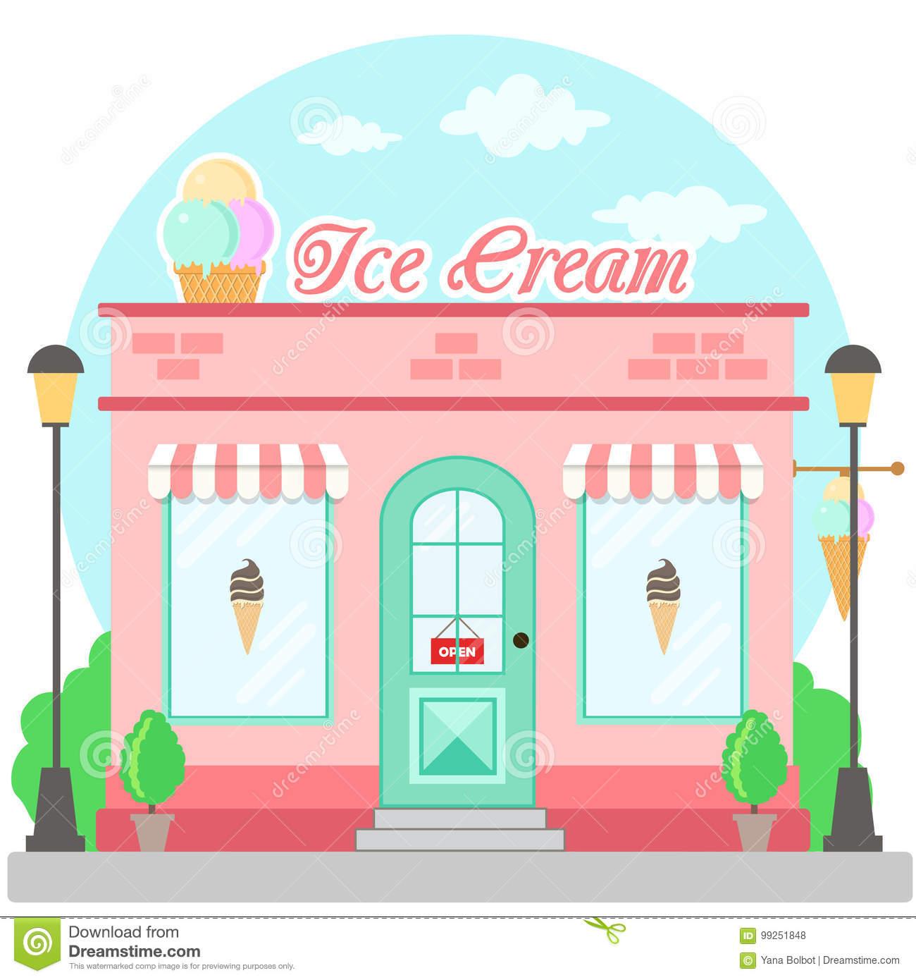 Facade Ice Cream Shop Signboard Awning Symbol Shopwindow Stock.