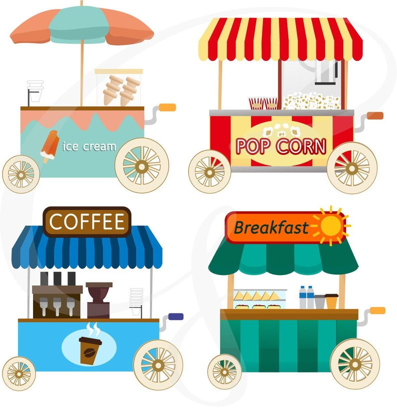 Ice cream cart clipart, popcorn cart clipart, coffee stand clipart,  commecial use, digital clipart.