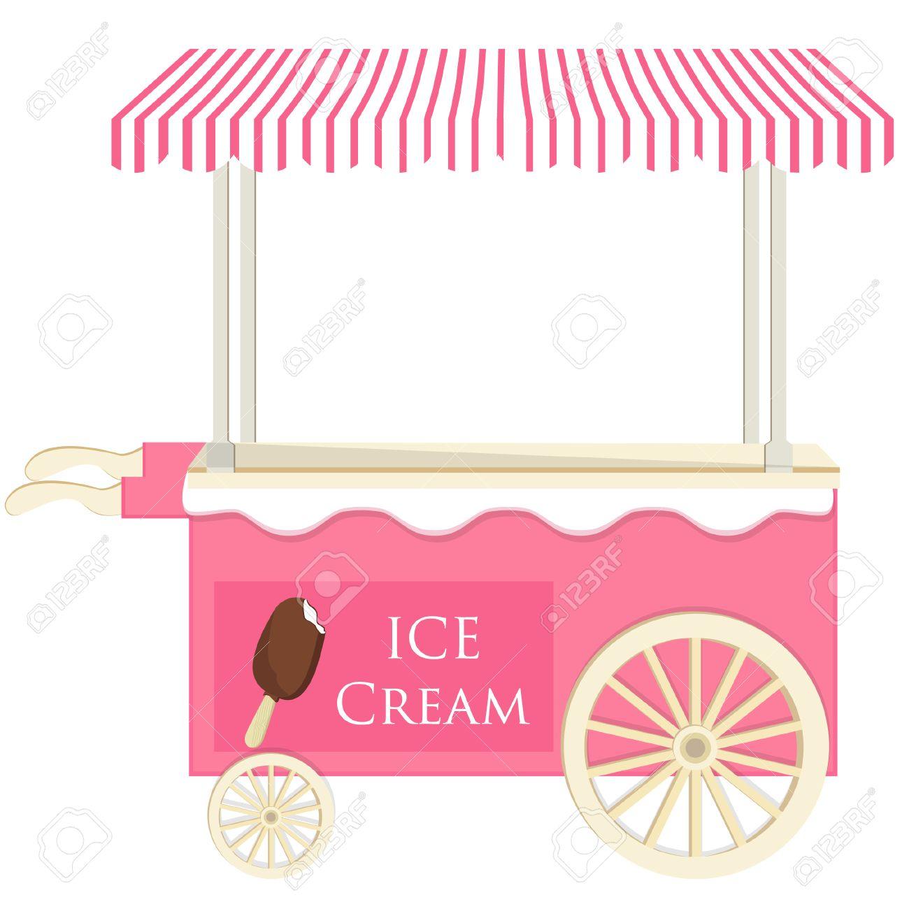 Ice cream pink cart vector icon isolated, ice cream stand, ice...