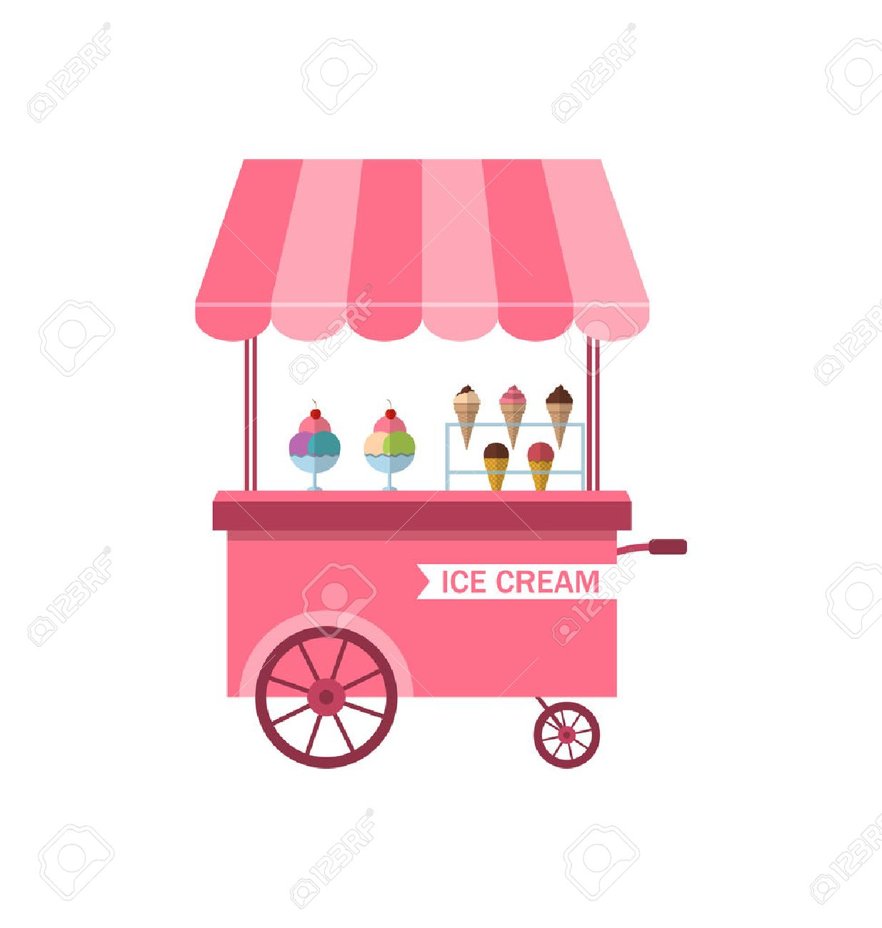 Illustration Icon of Stand of Ice Creams, Sweet Cart Isolated...