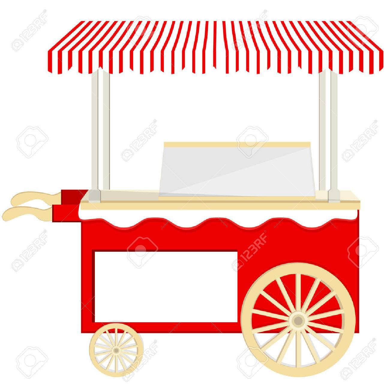 Ice cream red cart vector icon isolated, ice cream stand, ice...