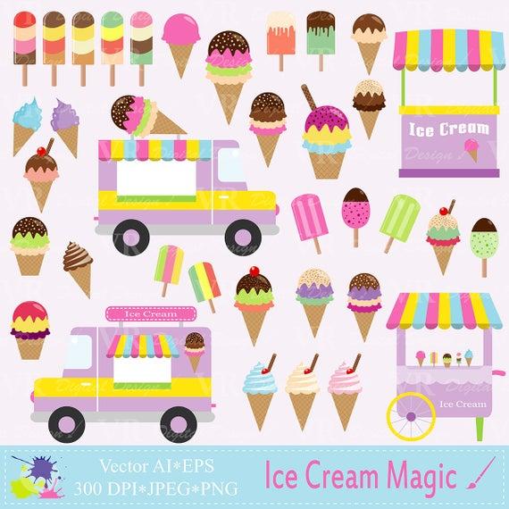 Ice Cream Clip Art, Ice Cream Vans Clip Art, Popsicles, Cones, Ice Cream  Stand Clipart, Digital Vector Download.