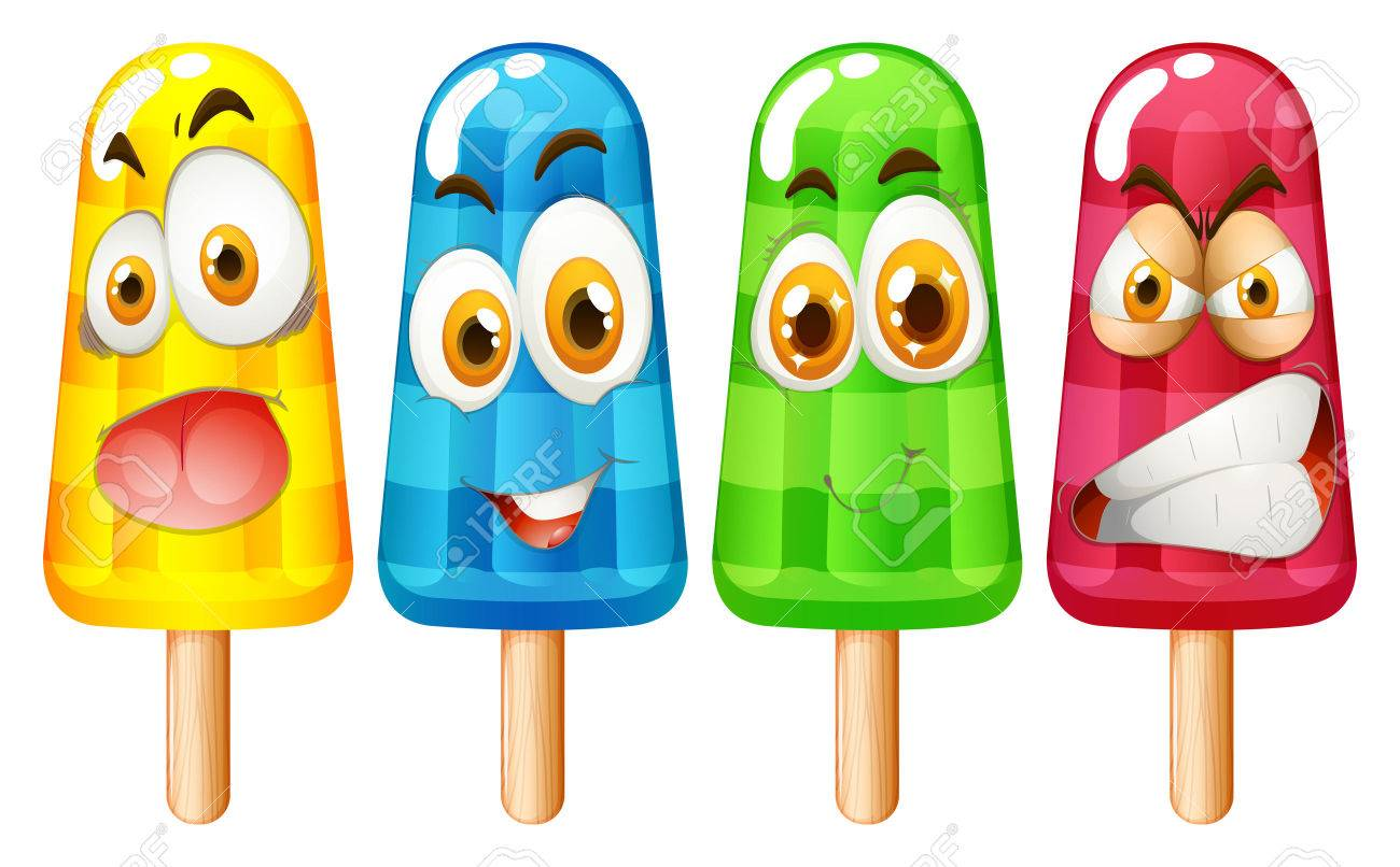 ice cream stick with facial expression illustration.