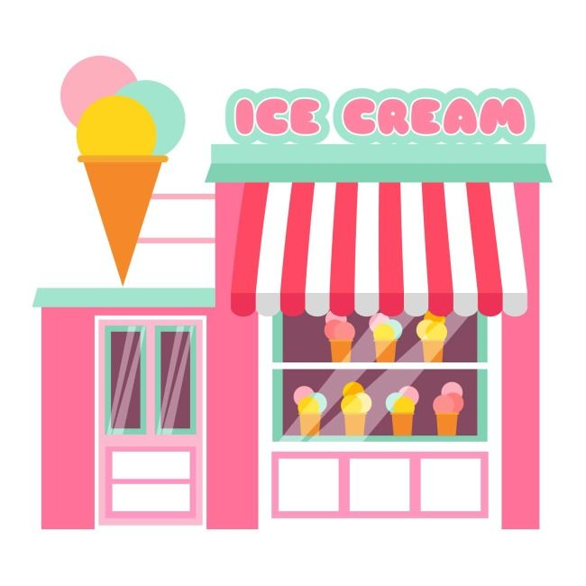 Pink ice cream shop element, download the HD full version on.