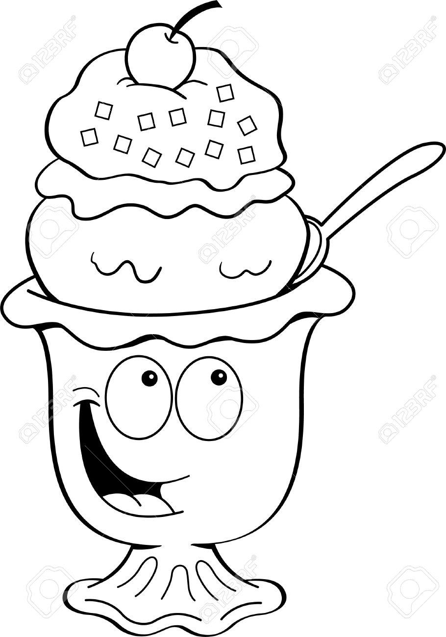 Black and white illustration of an ice cream sundae.