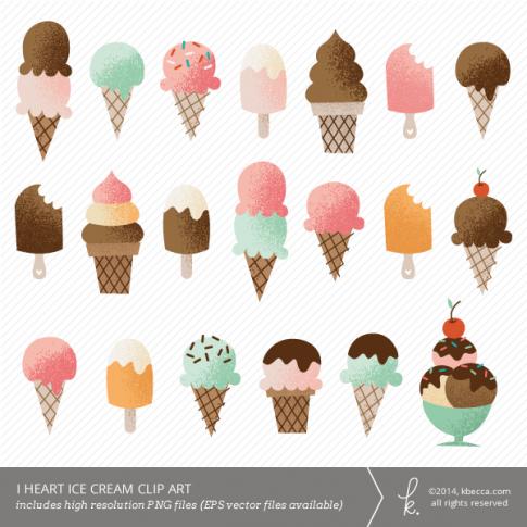 I Heart Ice Cream Clip Art.