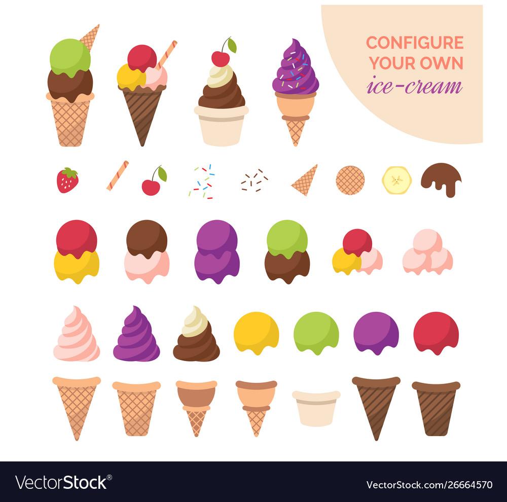 Cartoon color ice cream constructor icon set.