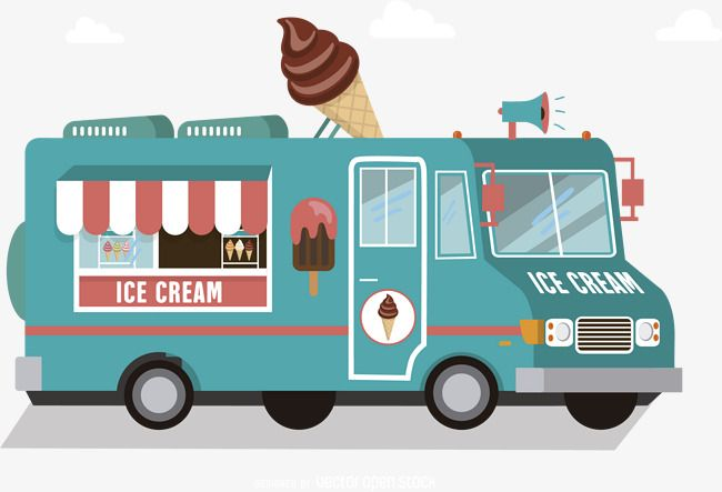 Vector Ice Cream Truck, Truck Clipart, Ice Cream Truck, Pink PNG and.