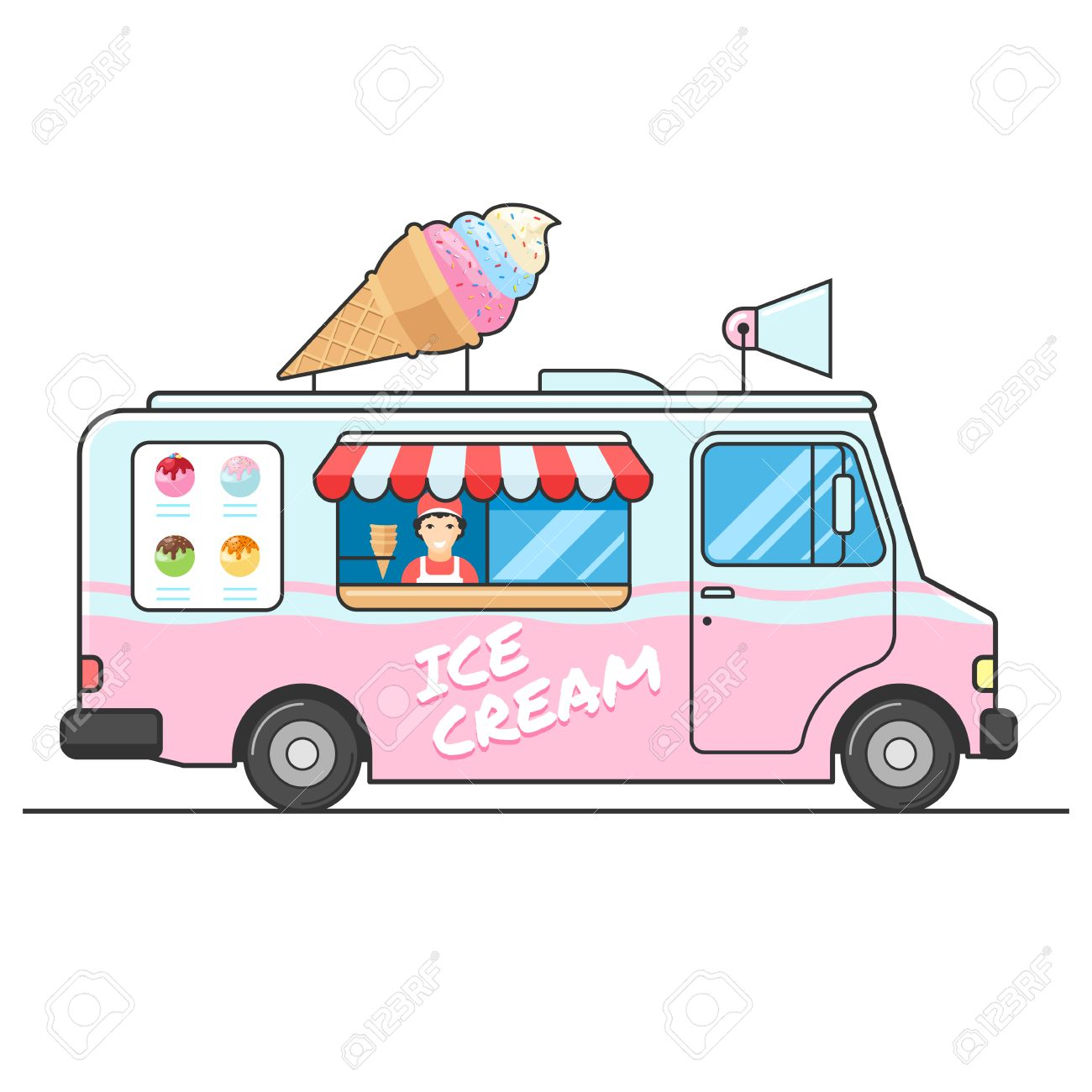 Ice cream truck, side view. Seller of ice cream in the van. Ice...