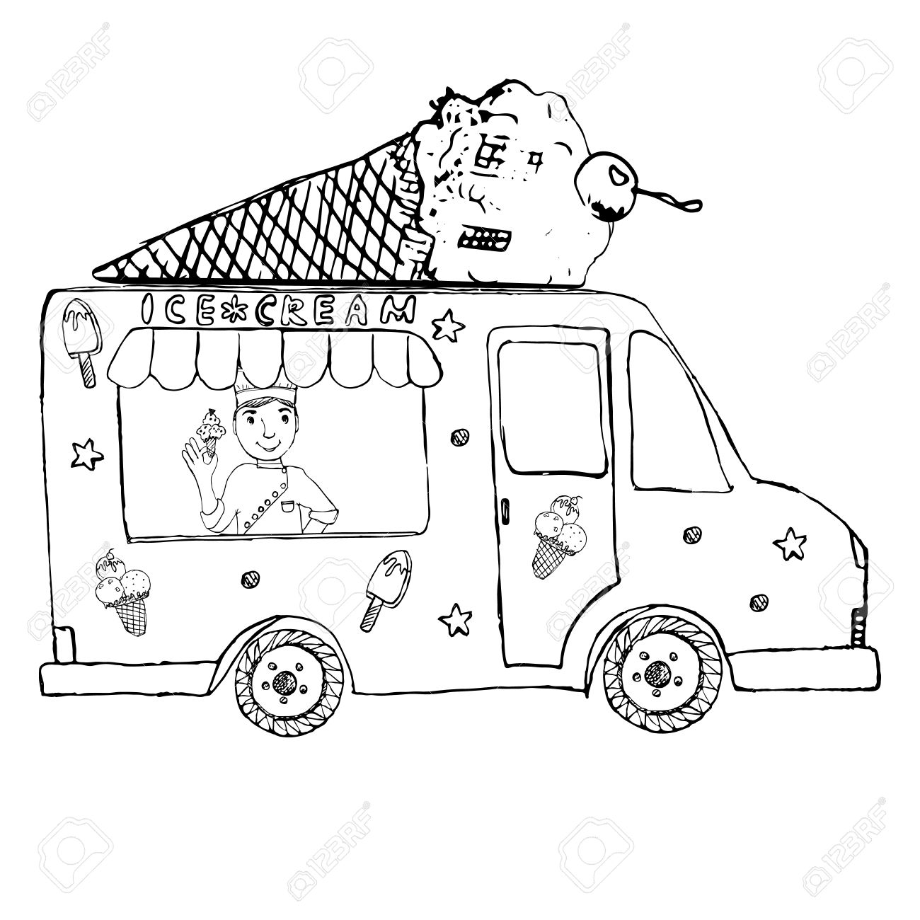 Hand Drawn Sketch Ice Cream Truck, With Yang Man Seller And Ice.