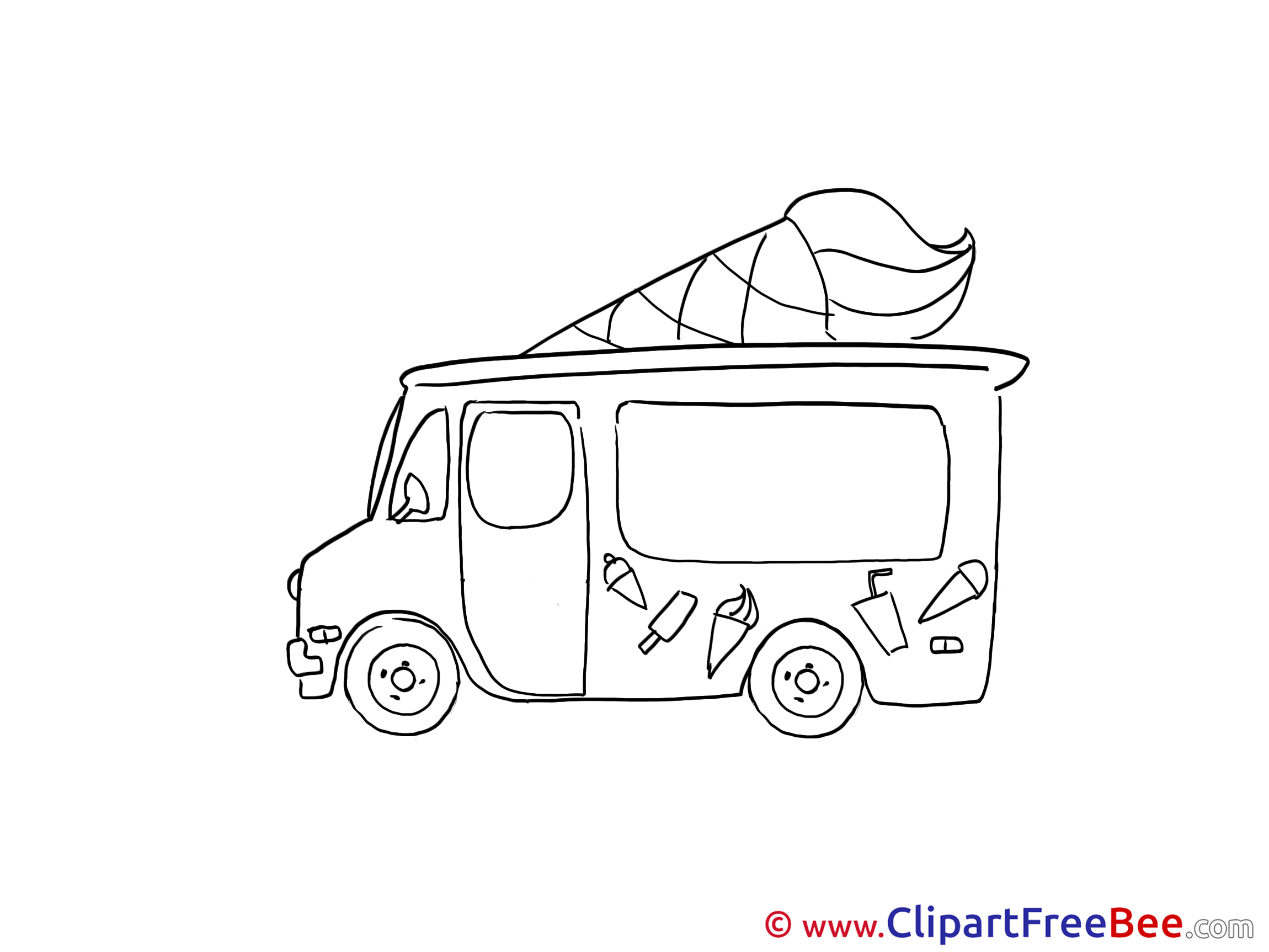 Drawing Ice Cream Truck Clipart free Illustrations.