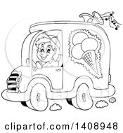Clipart of a Black and White Man Driving an Ice Cream Food Vendor.