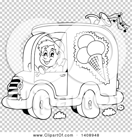 Clipart of a Black and White Lineart Ice Cream Truck Driver.