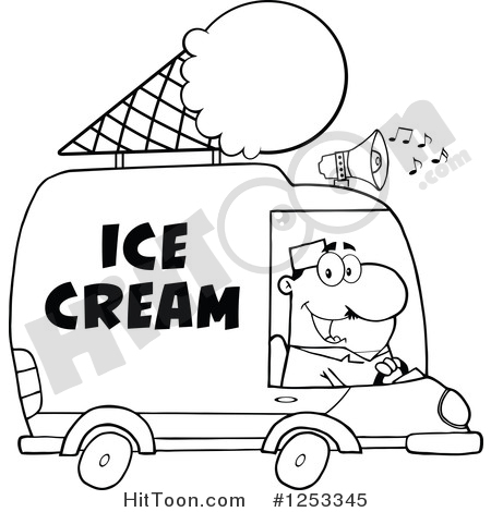 Ice Cream Truck Clipart #1253345: Black and White Man Driving an.