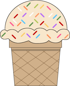 Vanilla Ice Cream Cone with Sprinkles with Sprinkles.