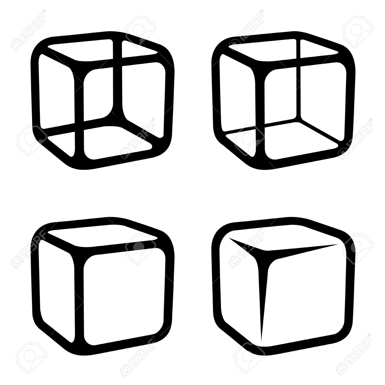 ice cube black symbols vector.