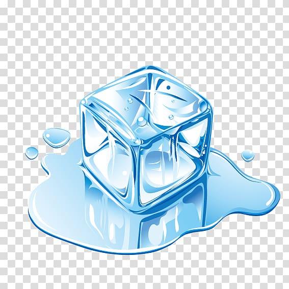 Melting ice cube illustration, IceCube Neutrino Observatory.