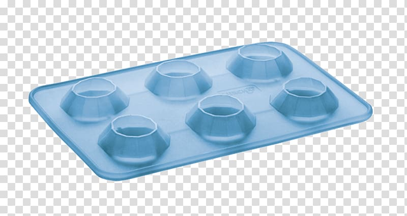 Ice cube Tray Music Producer, blue ice cubes transparent.